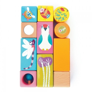 Easy-Play&Ring - WOODEN ACTIVITY BLOCKS WITH SOUNDS - 11 pcs