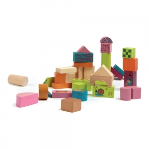 Happy Building Blocks - WOODEN BLOCKS - 50pcs - OOPS GLOBAL